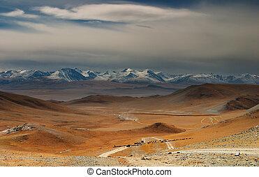 Mongolian landscape - Mongolian nomads driving cattle,...