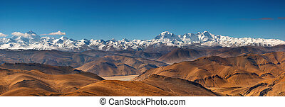 Himalayan Range - Panorama with Everest and Cho Oyu mountain...