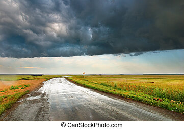 Rain - Landscape with road and storm clouds
