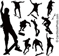 Jumping on skate board silhouettes vector collection...