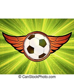 Grunge emblem, winged soccer ball