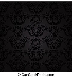 Charcoal floral seamless wallpaper. This image is a vector...