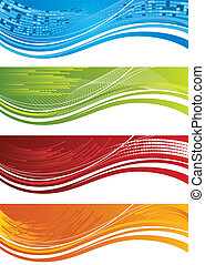 Set of four halftone banners