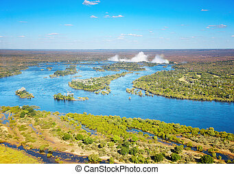 Zambezi river and Victoria Falls, bird's-eye view