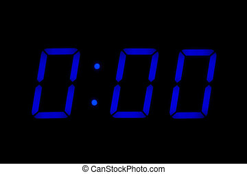 Electronic table clock showing 0:00 as idea of starting...