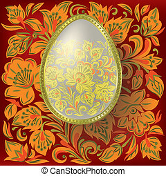 Gold easter egg on floral  background