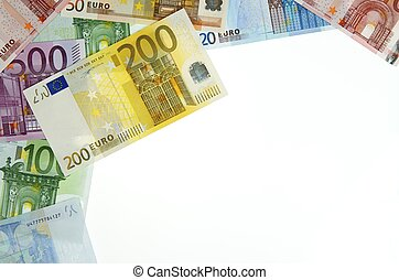 euros - view of a diverse group of European banknotes
