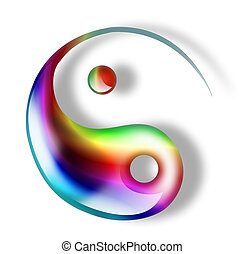yang yin - green yin yang symbol isolated on a white...