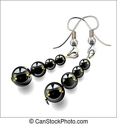 vector women's jewelry, earrings with black stones