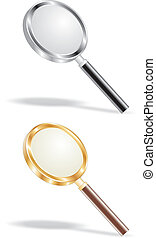 gold and metal magnifying lens