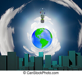 World City - City earth and flowering plants in light bulb