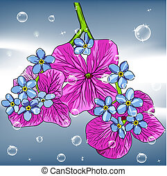 floral background with a hand drawn flavor of blooming spring Blossoms