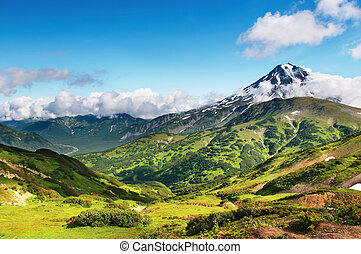 Mountain landscape with extinct volcano