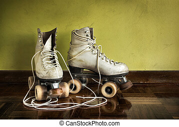 viejo, rodillo-patines