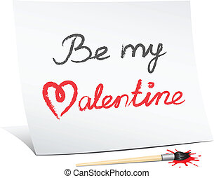 be my valentine, the text message on the white paper