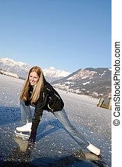 patinaje, mujer, figura