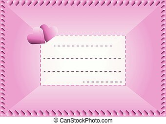 Love postcard - Pink envelope in love with hearts and frame...