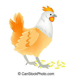 Fowl hen and strewn grain - Illustration of the hen on white...