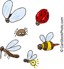 Cute cartoon bugs, insect illustration set