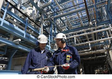 oil-workers, dentro, óleo, indústria