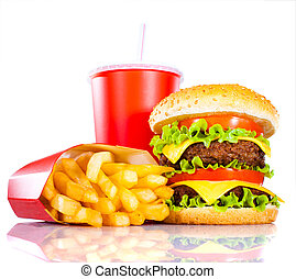 Tasty hamburger and french fries on a white background