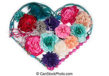 Flower heart made of ladies accessories (barrettes and...