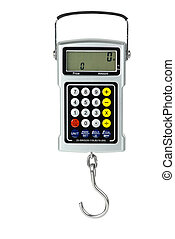 Digital fishhook scales with built-in calculator isolated on...