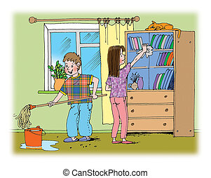 Cleaning - Hand drawn illustration about boy and girl doing...