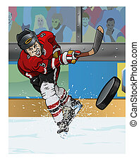 Ice hockey player - Cartoon-style illustration: a hockey...
