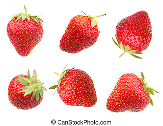 Strawberry berry on white - Strawberry red berry closeup on...