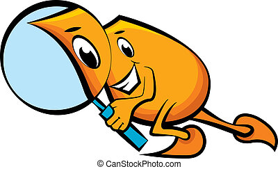 Blinky with magnifying glass - Cartoon character Blinky with...