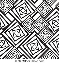 Black-and-white abstract background with squares Seamless...