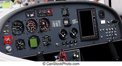 Airplane cockpit - Instrument panel of a small airplane....
