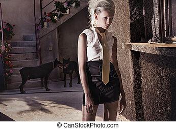 Depressive woman posing - Depressive woman standing at the...