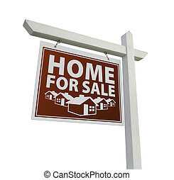 Red Home for Sale Real Estate Sign on White
