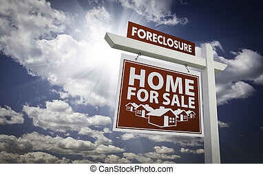 Red Foreclosure Home For Sale Real Estate Sign Over...