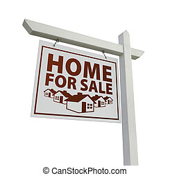 White Home for Sale Real Estate Sign Isolated