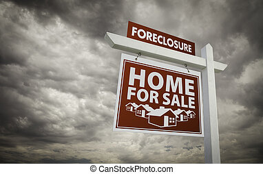 Red Foreclosure Home For Sale Real Estate Sign Over Cloudy Sky