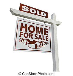 White Sold Home for Sale Real Estate Sign Isolated