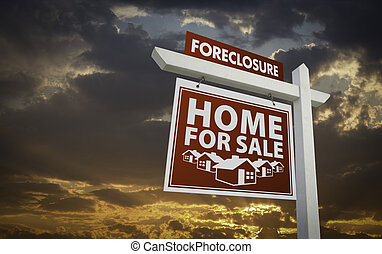 Red Foreclosure Home For Sale Real Estate Sign Over Sunset Sky