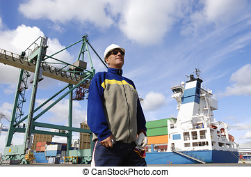 dock worker and container port - port-worker inside...