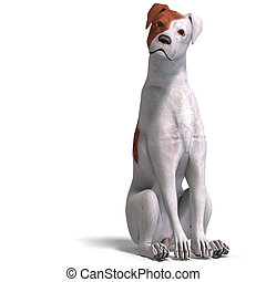 Parson Russel Terrier Dog. 3D rendering with clipping path...