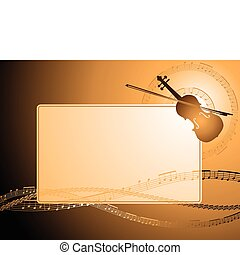 Violin frame - Decorative frame with musical notes and...