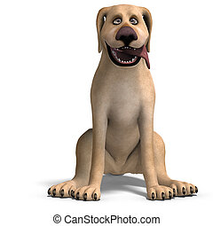 very funny cartoon dog is a little bit nuts 3D rendering...