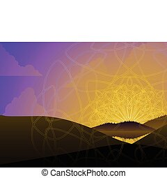 Celtic sunrise - Sunrise landscape with intricate overlaid...