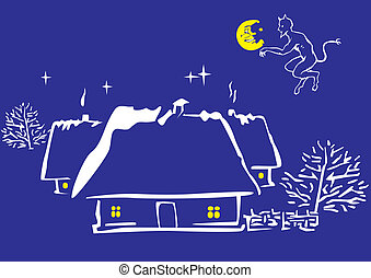Magic night Vector art-illustration on a blue background