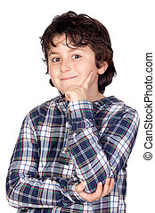 Smiling child with plaid t-shirt