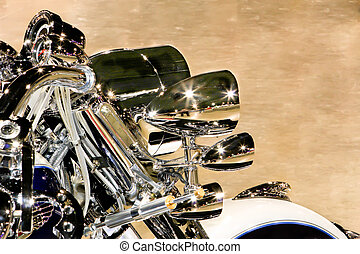 headlights - chrome headlight cluster of a custom harley...