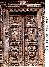 temple wooden carved door
