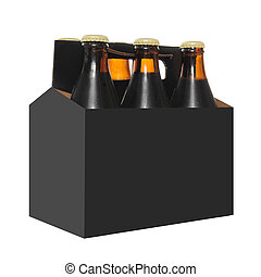Six Pack of Beer Bottles - Six pack of Beer bottles in a...